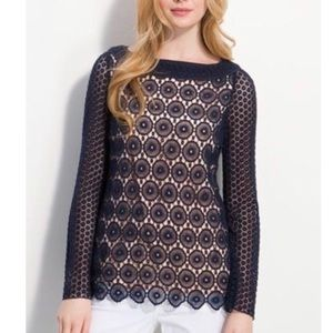 Tory Burch Charlotte Lace Top in Navy